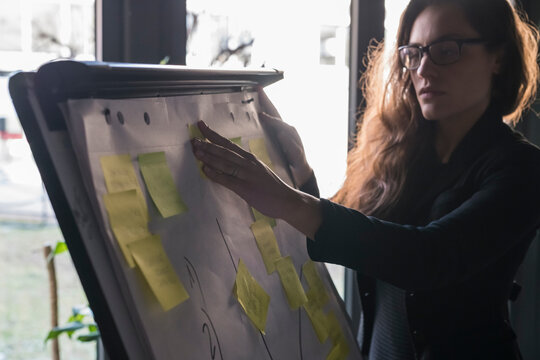 Businesswoman reading sticky notes on whiteboard in office