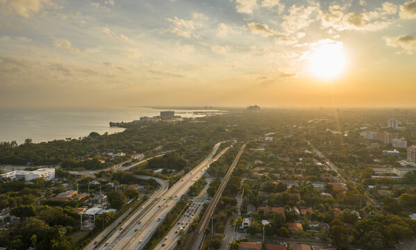 Coastline and highway at sunset, aerial view, Miami, Florida, United States