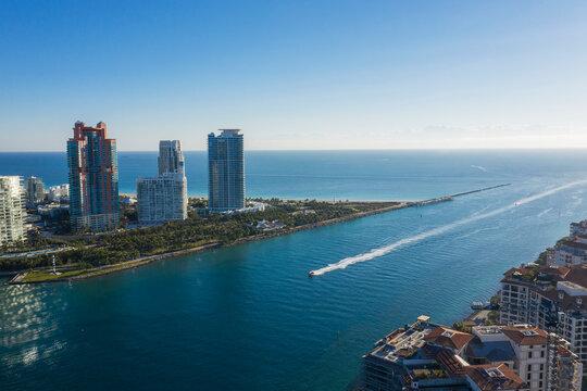 Coastal skyscrapers on Miami beach, aerial view, Miami, Florida, United States
