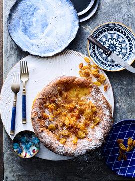 Dessert with golden raisins topping