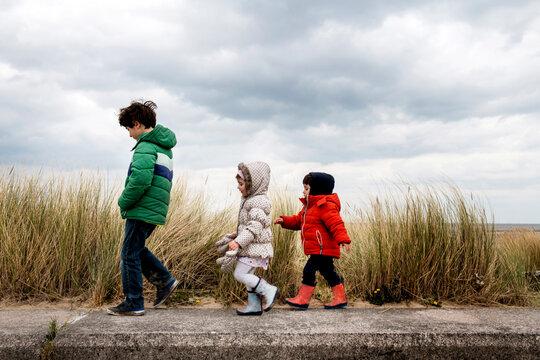 Siblings exploring beach