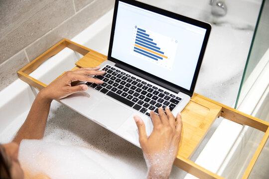 Woman sitting in bathtub, having foam bath and working on laptop during Coronavirus crisis.