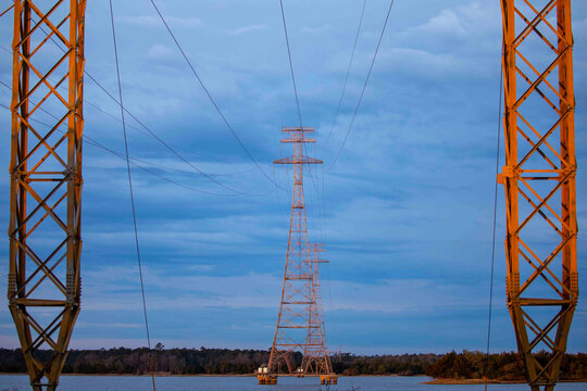Powerline Tower Built Over a Lake