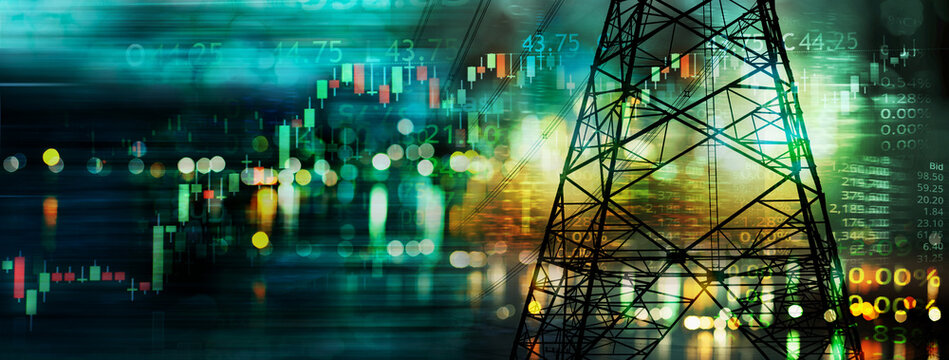 market stock graph and information with city light and electricity and energy facility industry and business banner background