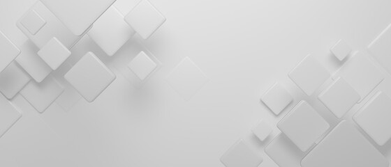 Abstract background, white geometric shapes on white background, 3D rendering