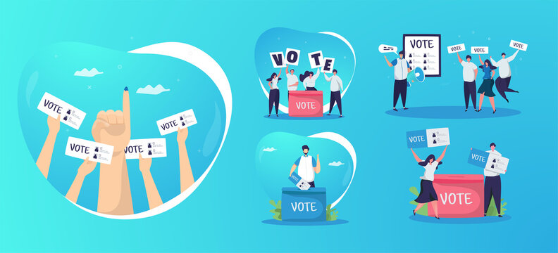 Election day with participating in voting on illustration set