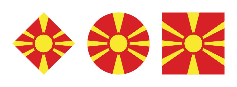 north macedonia flag icon set. isolated on white background