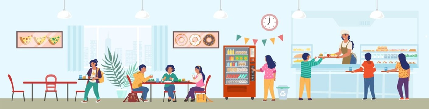 School canteen with staff and children having lunch, flat vector illustration. School cafeteria, buffet, cafe.