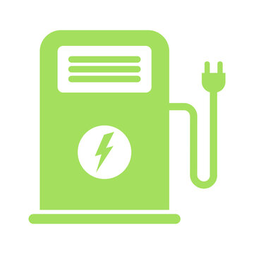 Electrical charging station icon. Eco charge concept. Vector illustration isolated on white background