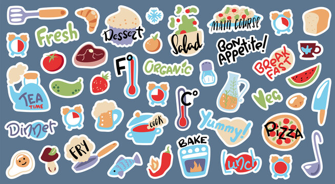 Food cooking stickers, vector illustration with white outline. Doodle objects and lettering stickers for cook book or recipe card. Kids cooking class activity. Temperature and cooking time icons