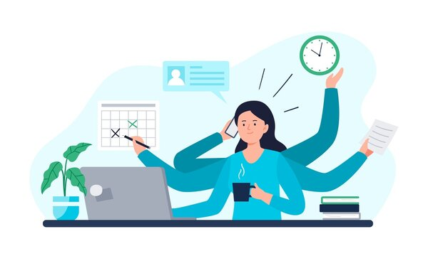 A Businesswoman Does All Work Tasks in Time. Multitasking, Time Management, and Productivity Concept. Vector Flat Illustration.