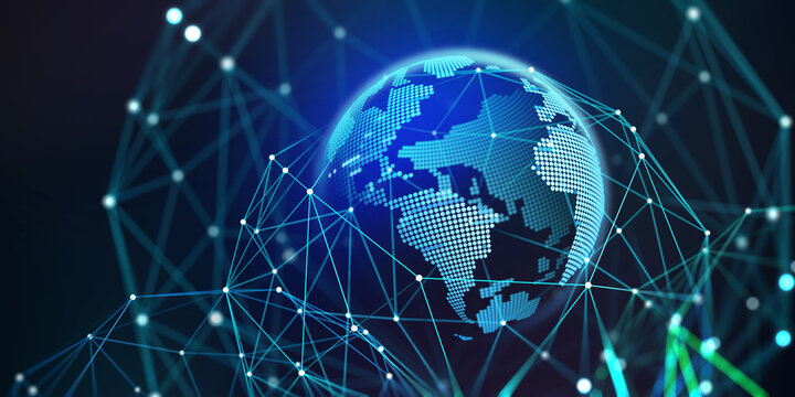 Holographic globe in a polygonal mesh 3D illustration. Business globalization, digital data planet, cyber security in the network. Online sales and marketing