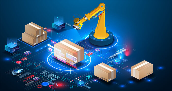 Smart logistics industry 4.0. Asset warehouse and inventory management supply chain technology concept. 3D Robot Palletizing Systems, Robotic arm loading and scan cartons on pallet. Auditing of data
