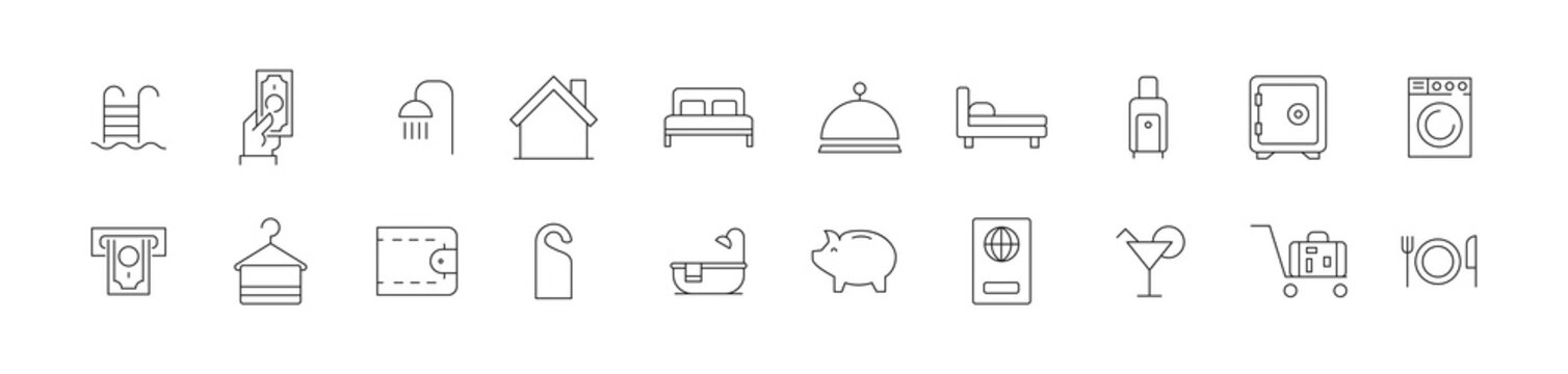 Vector set of room service thin line icons.