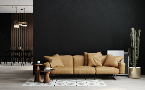 Living room interior in loft, industrial style, 3d rendering