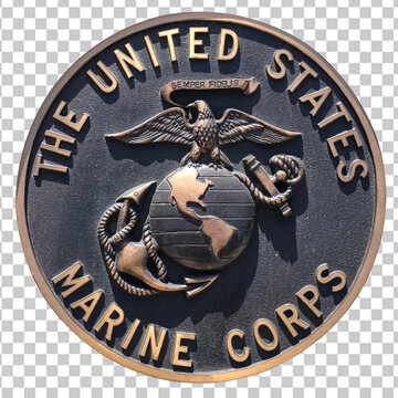 Los Angeles, California  USA - March 12 2019: U.S. Marine Corps logo or emblem or plaquette on isolated background