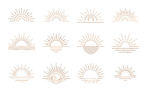 Boho sunrise logo, sun line art vector. Sunset stock vector logo design
