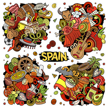 Spain cartoon vector doodle designs set. Colorful detailed compositions with lot of Spanish objects and symbols. All items are separate