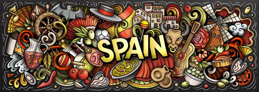 Spain hand drawn cartoon doodles illustration.