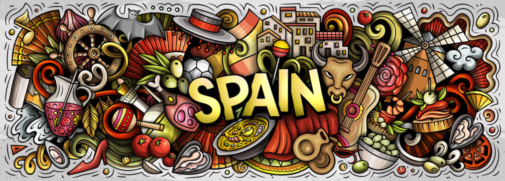 Spain hand drawn cartoon doodles illustration. Spanish funny objects and elements poster design. Creative art background. Colorful vector banner