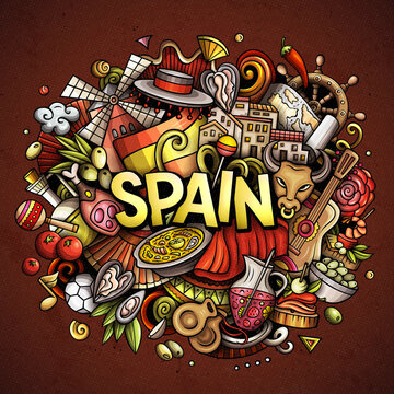 Spain hand drawn cartoon doodle illustration. Funny Spanish design. Creative art vector background. Handwritten text with elements and objects. Colorful composition