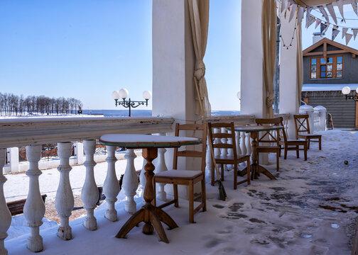 Summer cafe terrace in winter