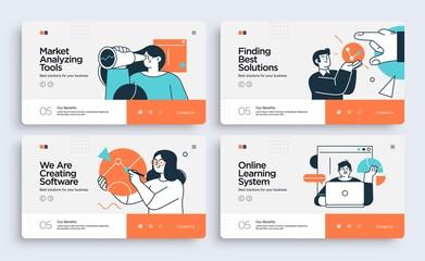 Fototapeta Set of Presentation slide templates or landing page websites design. Business concept illustrations. Modern flat style