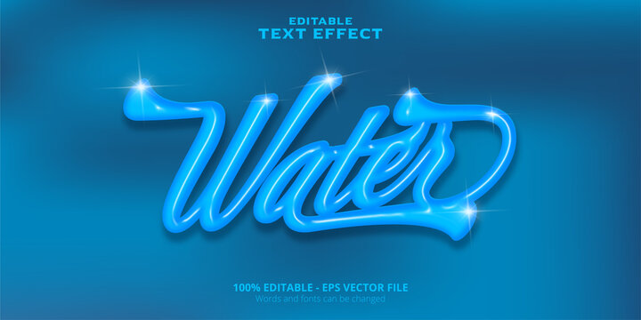 Water text, editable text effect