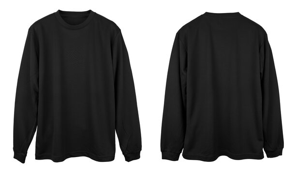 Blank long sleeve T Shirt color black template front and back view on white background