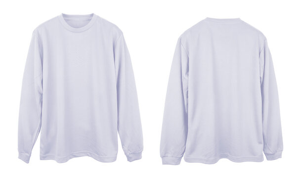Blank long sleeve T Shirt color white template front and back view on white background