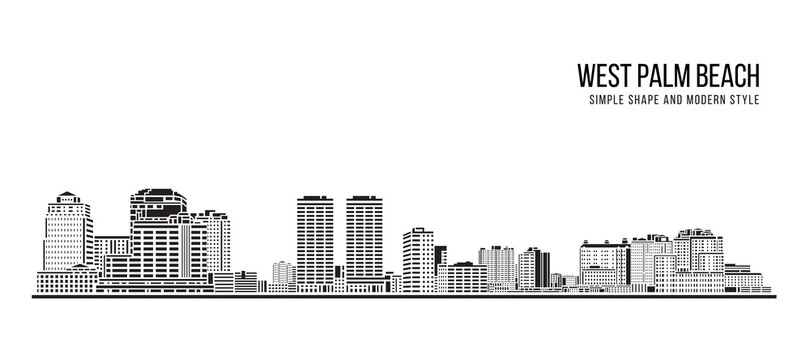 Cityscape Building Abstract Simple shape and modern style art Vector design - West Palm Beach city