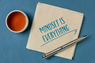 mindset is everything - motivational slogan on a napkin with a cup of tea, success and personal development concept