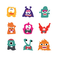 Door stickers Monster Monsters Cartoon Character With Actions collection set vector illustration