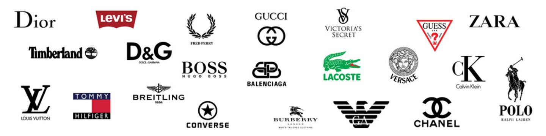 Top fashion brand emblem logo set. Editorial image. VINNITSIA, UKRAINE. MARCH 17, 2021