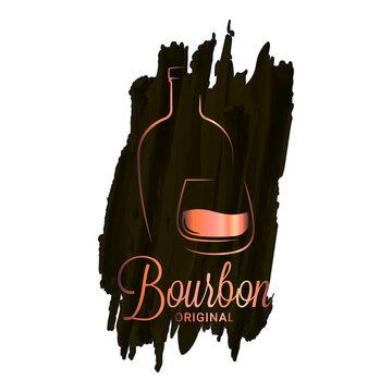 Bourbon or whiskey watercolor logo. Brandy bottle