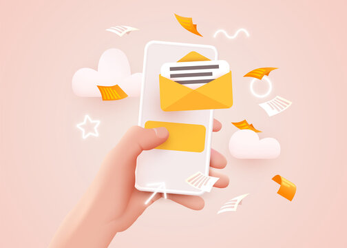 Hand holding mobile smart phone with mail app. Mail service concept.