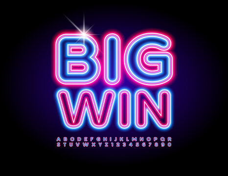 Vector electric promo Big Win. Led Illuminated Font. Bright Neon Alphabet Letters and Numbers set