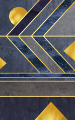 3d modern mural wallpaper . golden lines and dark marble background . 3d wall modern frames for print on canvas . Golden sun and lines, modern Triangles . For home decor.