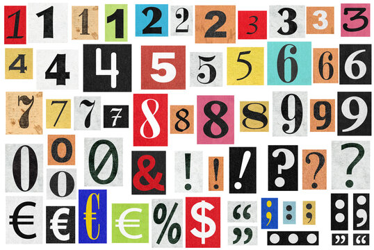 Ransom notes Paper cut numbers letters Old newspaper cutouts