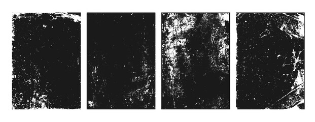 Grunge texture noise, abstract black effect set, vector illustration. Dark dirty overlay design, ink paint background.