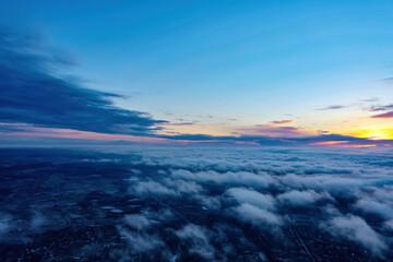 sunrise on blue sky. Blue sky with some clouds