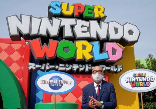 Universal Studios Japan Marketing Director Ayumu Yamamoto speaks to media at Super Nintendo World inside the Universal Studios Japan theme park in Osaka, Japan