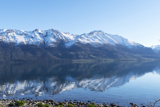 Beautiful Landscape of Mountain Ranges and Lake Wakatipu Queenstown, New Zealand; South Island