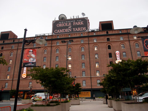 Welcome to Oriole Park at Camden Yards sign atop Ballpark