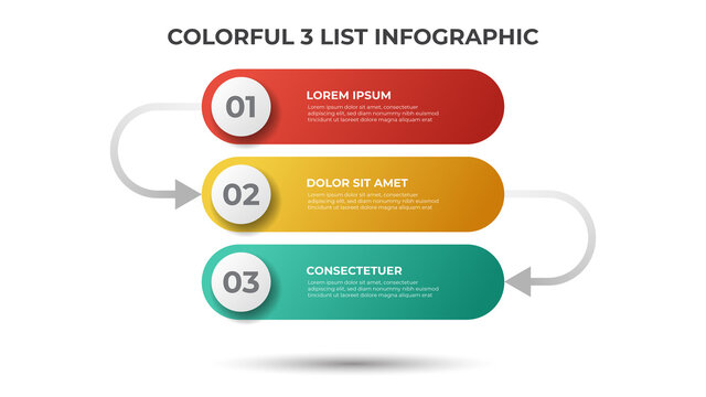 Colorful layout with 3 points of steps or list with arrows, infographic element template vector.