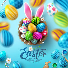 Wall Murals Graffiti Easter Poster And Flyer Template with Easter eggs in the nest and Rabbit ears on bule background.Greetings and presents for Easter Day in flat lay styling.Promotion and shopping template for Easter