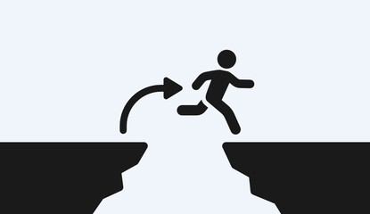 Courageous man jump over a gap from cliff. Determination, confidence and courage to take risk for reach the success. Vector illustration. Wall mural
