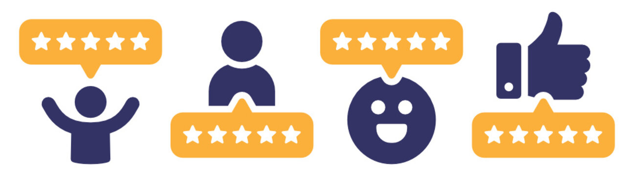 5 stars positive review of customer. Feedback with satisfaction rating.  Survey about quality service. Concept of best ranking. Choose icon of excellent. Good result in business. Vector icons set.