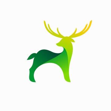 deer logo with green concept