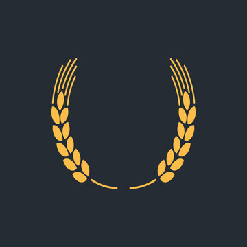 Vector icon of wheat ears on black background, gold logo vector illustration.